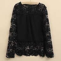 Womens Trendy Lace Pattern Fashionable Top