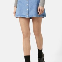Women's Topshop Moto Snap Front Denim Skirt ,