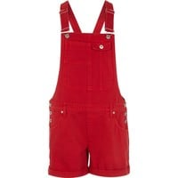 Bright red short denim overalls - vacation shop - sale - women
