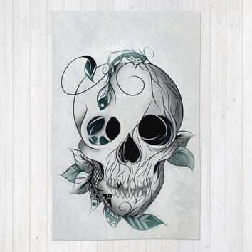 Skull Boho Area & Throw Rug by LouJah | Society6