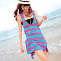 Cute Loose Stripes Dress with Tube_Dresses_Women_MartOfChina.com- wholesale cheap fashion dresses, wholesale lots of cheap clothing.