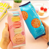Korean Creative Macaron Cracker School Pencil Case Cute PU Leather pen bag Kawaii Stationery pouch office school supplies zakka