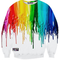 Crew Neck Multicolor Coating Print Sweatshirt
