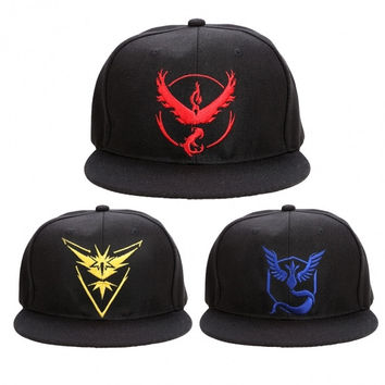 Pokemon GO Hot Fashion Unisex Men Women Embroidered Baseball Cap Snapback Flat Brimmed Cap