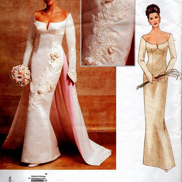 Vogue 2720 Sewing Pattern Wedding Dress Bridal Gown Fitted Bodice Sexy Bride Wiggle Fit Off Shoulder Long Sleeve Train Uncut Plus Size