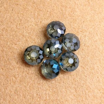 CCOIN-002 - Chinese Crystal Coin Beads,Blue Vitrail,14x9mm | Pkg 6