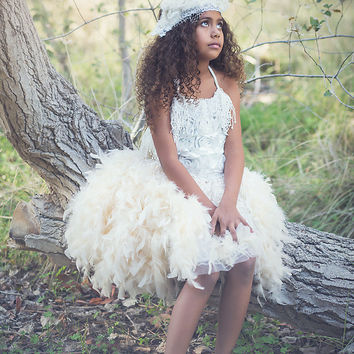 """Felicia""Feather Skirt and Corset Top-flower girl-photoprop"