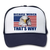 BECAUSE 'MERICA THAT'S WHY US Flag & Eagle Hat from Zazzle.com