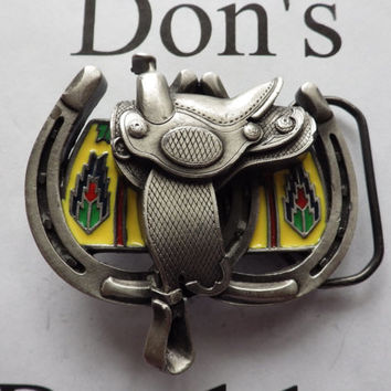 1990 Horse Saddle and Horseshoe Buckle Great American Buckle Co Vintage Pewter and Enamel