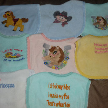 Embroidered Baby Bibs, Baby Shower Gifts, Baby Bibs, Gifts For Babies, Gifts For Girls, Gifts For Boys, Cowboys, Cowgirls, Pony, Baby Gifts