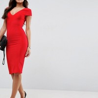 ASOS Seamed Structured Rib Bodycon Midi Dress with V Neck at asos.com