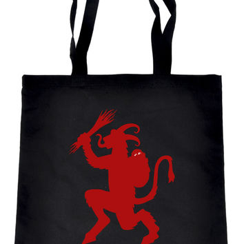 Christmas Krampus on Black Tote Book Bag German Occult Handbag