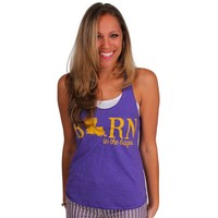 Born on the Bayou Tank Top in Purple by Judith March