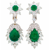 David Webb Emerald Diamond Platinum Earrings c1970s