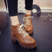Fashion Autumn High Platform Zipper Ankle Boots