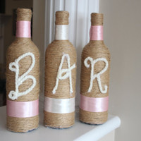 Bar Sign, Bar decor, Wedding Bar Sign, Anniversary Party, Stagette, Bachelorette party decor, Twine Wrapped, Pink Wedding Sign, Wedding Sign