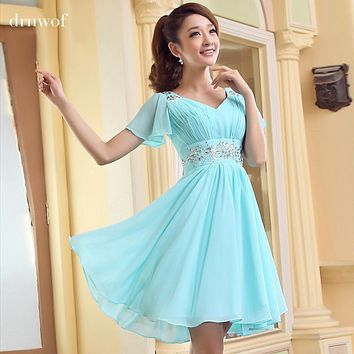 Cheap Brand New Mini Bridesmaid Dresses 2017 Short Sleeve Red Party Formal Prom Dress Pink Light Blue Champagne Back Lace-up