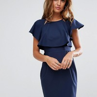 ASOS Double Layer Mini Wiggle Dress with Angel Sleeve at asos.com