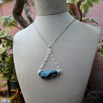 Blue Apatite Necklace - Raw Stone Jewelry - Bohemian Jewelry - Rough Stone Necklace - Raw Apatite Jewelry - Gemstone Pendant - Boho Necklace