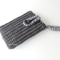 Crocheted sleeve for iPad mini with wristlet in anthracite. Cover case crochet for mini tablet.