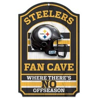 NFL Pittsburgh Steelers 11-by-17 inch Fan Cave No Offseason Wood Sign