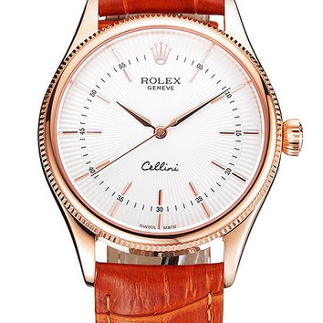 Swiss Rolex Cellini White Dial Rose Gold Case Brown Leather Strap