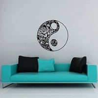 Wall Decals Yin Yang Symbol Floral Patterns Ornament Geometric Chinese Asian Religious Wall Vinyl Decal Stickers Bedroom Murals