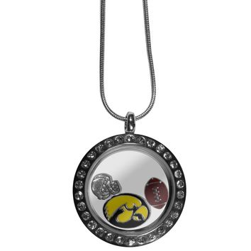 Iowa Hawkeyes Rhinestone Floating Charm Locket Necklace