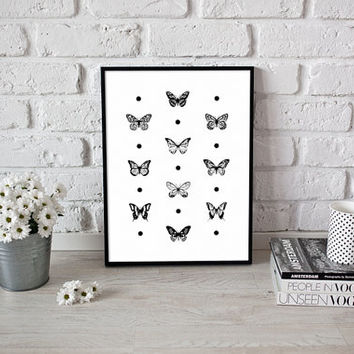 Butterfly poster, Printable wall art, Butterfly print, Butterfly wall art, Black and white butterfly prints, Black and white kitchen decor