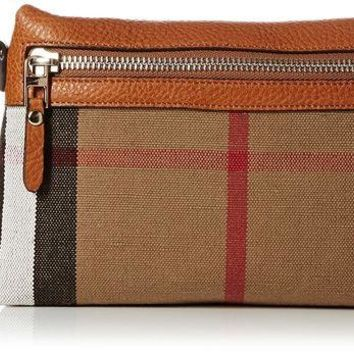 ONETOW Burberry Small Canvas Check and Leather Clutch Bag