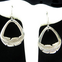 Laurel Burch Dangling Feather Pierced Earrings - Silvertone Feathers Hoop Retro Era Designer Signed