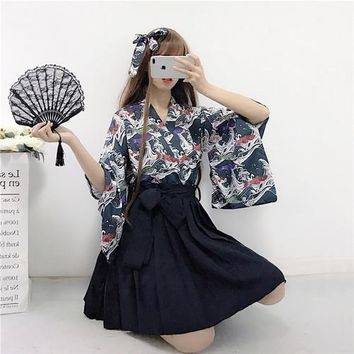 Japanese women suit Summer wind feather woven kimono top + pleated skirts was thin Harajuku 2 piece set ladies send headdress