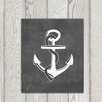 Anchor printable Beach art print Black white gray Modern minimalist chalkboard Beach house Bathroom wall art Nautical print INSTANT DOWNLOAD