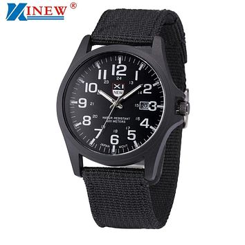 XINEW Brand Wrist Watches Men Sports Outdoor Military Watch Mens Luxury Steel Dial Quartz Watch Male Hours Reloj Relogio #NI