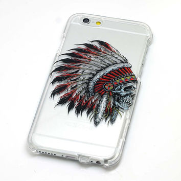 OVERSTOCK-Sale-Low Price! Phone Case-Native American Headdress Transparent Clear iPhone Case iPhone 5 2 Piece