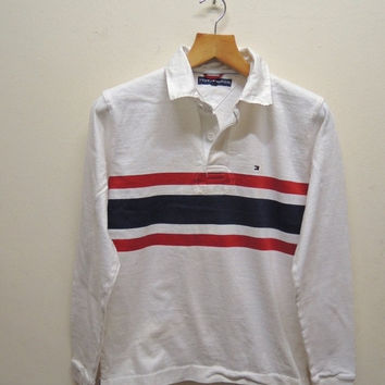 15% CRAZE SALE Vintage 90's Tommy Hilfiger Long Sleeves Designer Shirt Rugby Wear Urban Fashion Size M