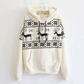 Fawn Hooded Fleece Sweater JCAFE