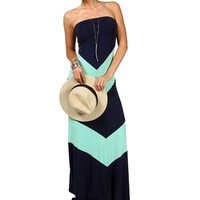 Navy/Mint Strapless Chevron Maxi Dress