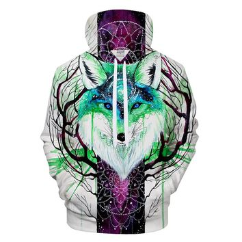 Fox And Galaxy Pullover Hoodie