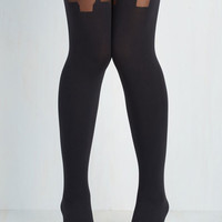 Boudoir, Pinup, Vintage Inspired, 40s, 50s, Film Noir, French Suspends Thriller Tights Size OS by Pretty Polly from ModCloth