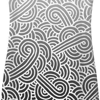 Ombre black and white swirls doodles Simple Dress