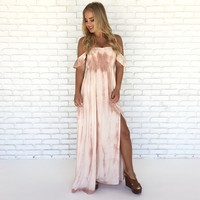 Pink Crystals Tie Dye Maxi Dress