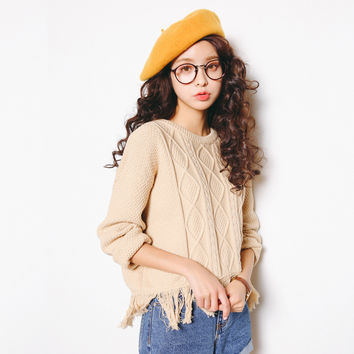 Knit Korean Tassels Women's Fashion Tops [6466182724]