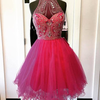 Red Sweetheart Chiffon Crystal Halter Homecoming Dress