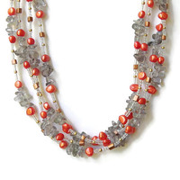 Extra long multi wrap necklace Gray orange Stone and pearls jewelry Natural semiprecious smoky quartz nugget necklace OOAK unique jewelry