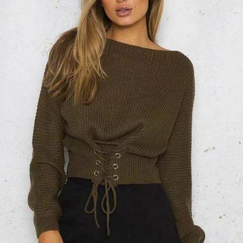 Lace Up Crop Sweaters