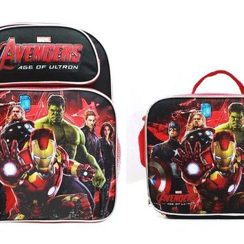 "Avengers Age of Ultron Boys 14"" Canvas Red School Backpack w/Insulated Lunch Bag"