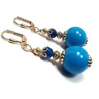 Teal Blue Earrings, Bright Blue, Drop Earrings, Made with Vintage Beads, Vintage Style, Colorful Spring, Clip on Earrings Lever Back Hook