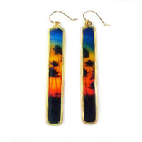 Rainbow Sunset and Palm Tree Earrings - Long