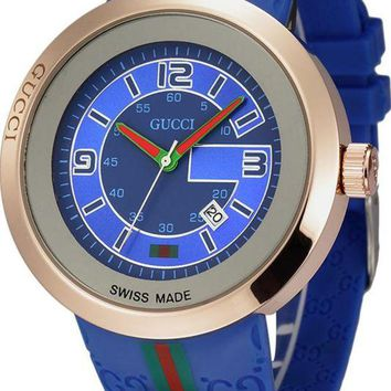 ac NOVQ2A GUCCI beautiful men and women models stylish watch F-YF-GZYFBY Blue